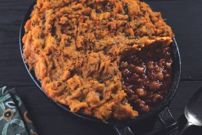 Vegetarian Sweet Potato Cottage Pie with Quorn Mince