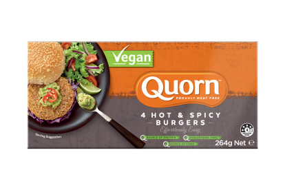 Quorn Vegan Hot & Spicy Burgers packaging with nutritional information.