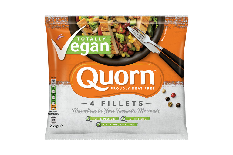 Quorn Vegan Fillets packaging with nutritional information.