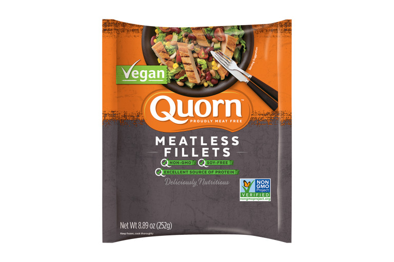 A bag of Quorn Meatless Vegan Fillets showing the plated product and information on an orange and charcoal background.