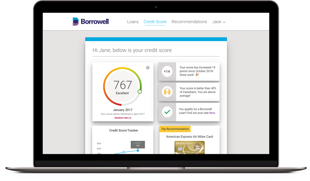 This is a screenshot of Borrowell's new and improved credit dashboard.