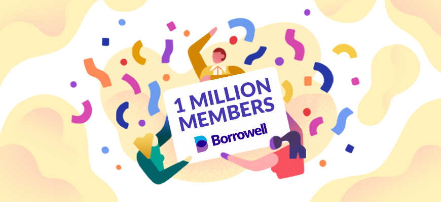 This graphic shows people dancing to celebrate Borrowell's milestone of one million members.