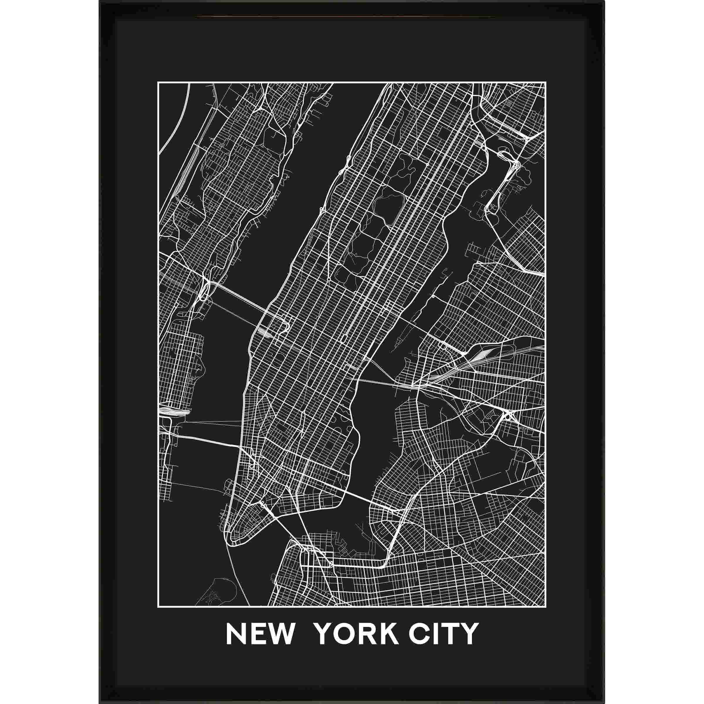 Print in lijst new york city map 50x70
