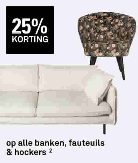 25% korting shop alle banken, fauteuils en hockers