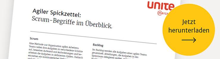 Agiler Spickzettel: Scrum-Begriffe im Überblick.