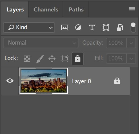 Screenshot of a layer with a lock still on it in Photoshop
