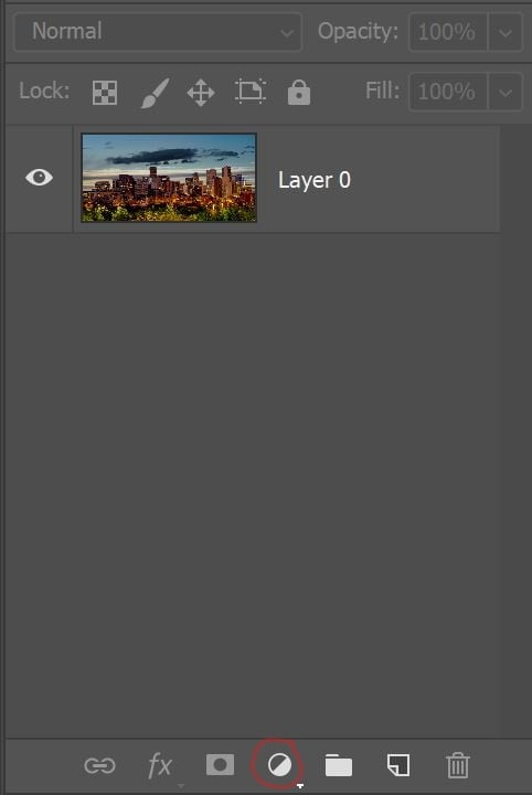 Screenshot of Photoshop Adjustment Layer Button