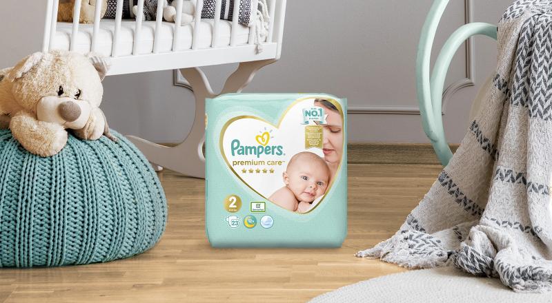 Plenky Pampers Premium Care s upevňovacími pásky