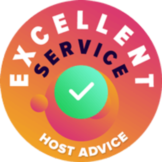 Host Advice Award Badge Excellent Service