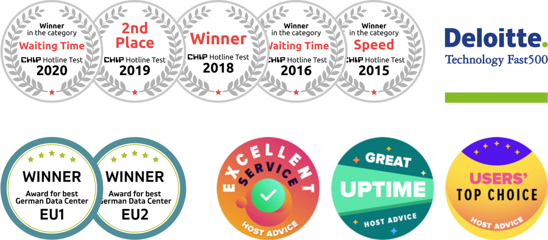 Contabo award badges - Chip Hotline Test, Deloitte, Host Advice, Best German Data Center