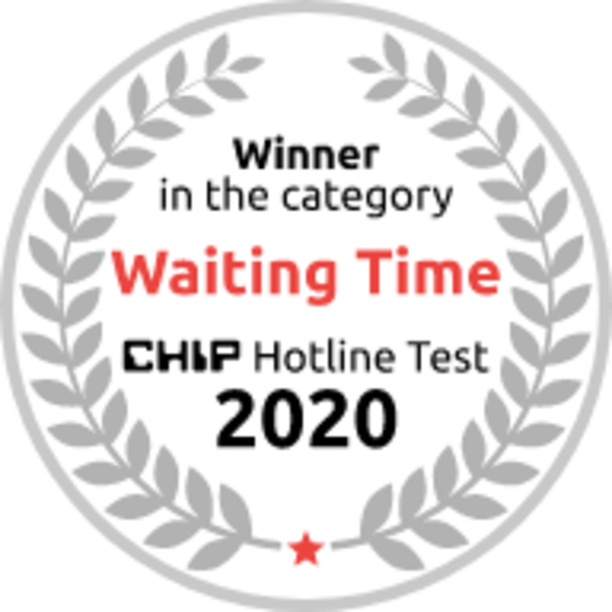 "Chip Hotline Test 2020 Award Badge - Winner in the category ""Waiting Time"""