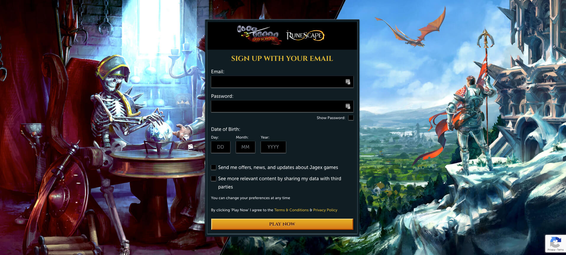 A screenshot of the RuneScape account creation page