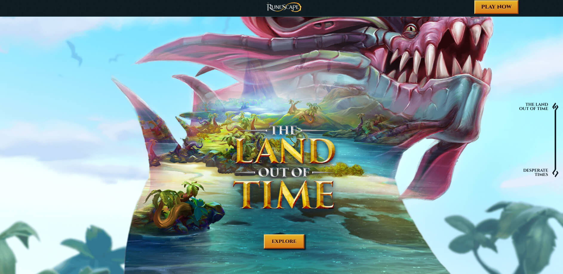 A screenshot of the World Out of Time mini-site