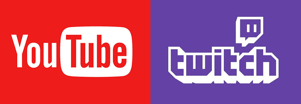YouTube and Twitch logos