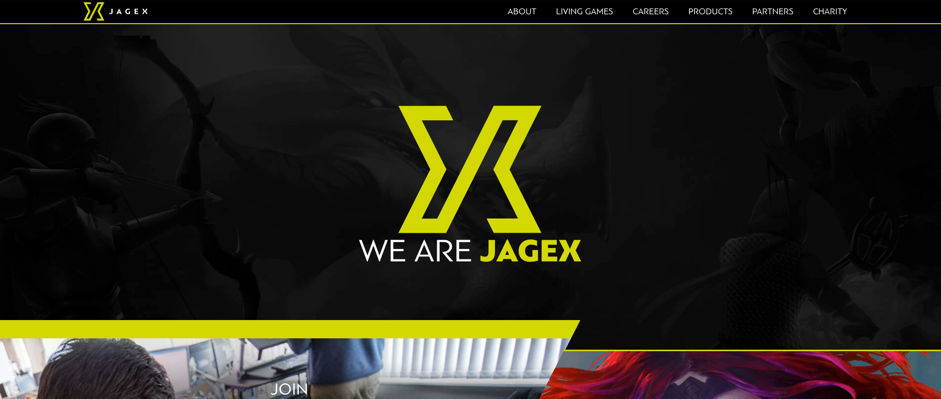 A screenshot of the Jagex home page
