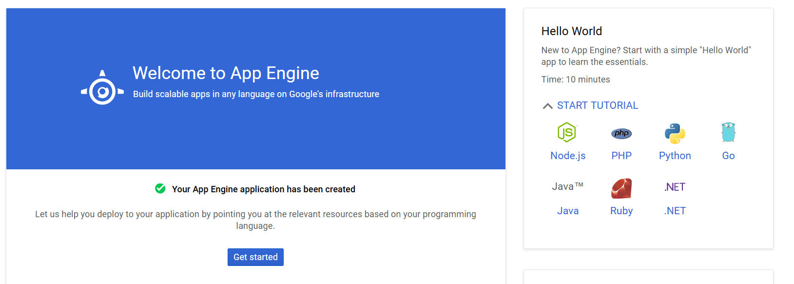 Google App Engine - Quickstart guide page