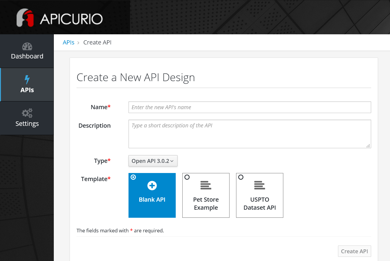 Apicurio - 1. Create a New API