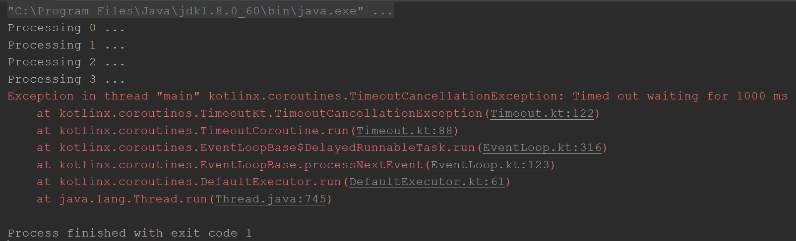 Throw exception on timeout