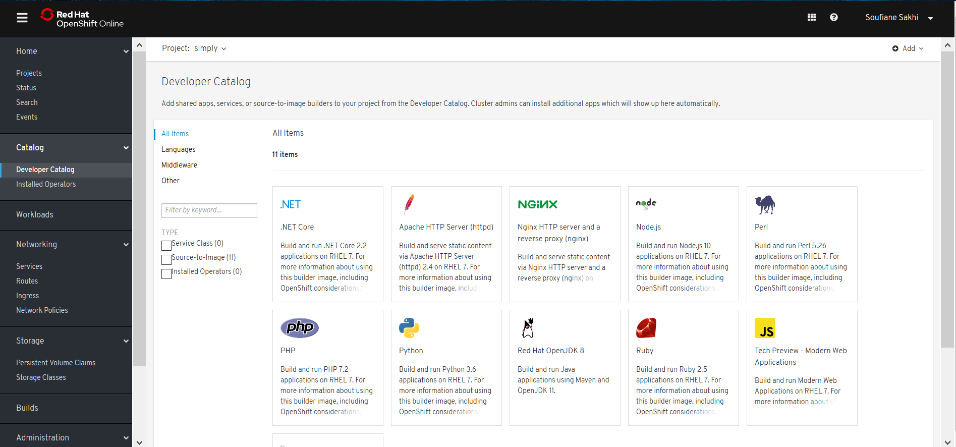OpenShift Online - 7- Browse Catalog