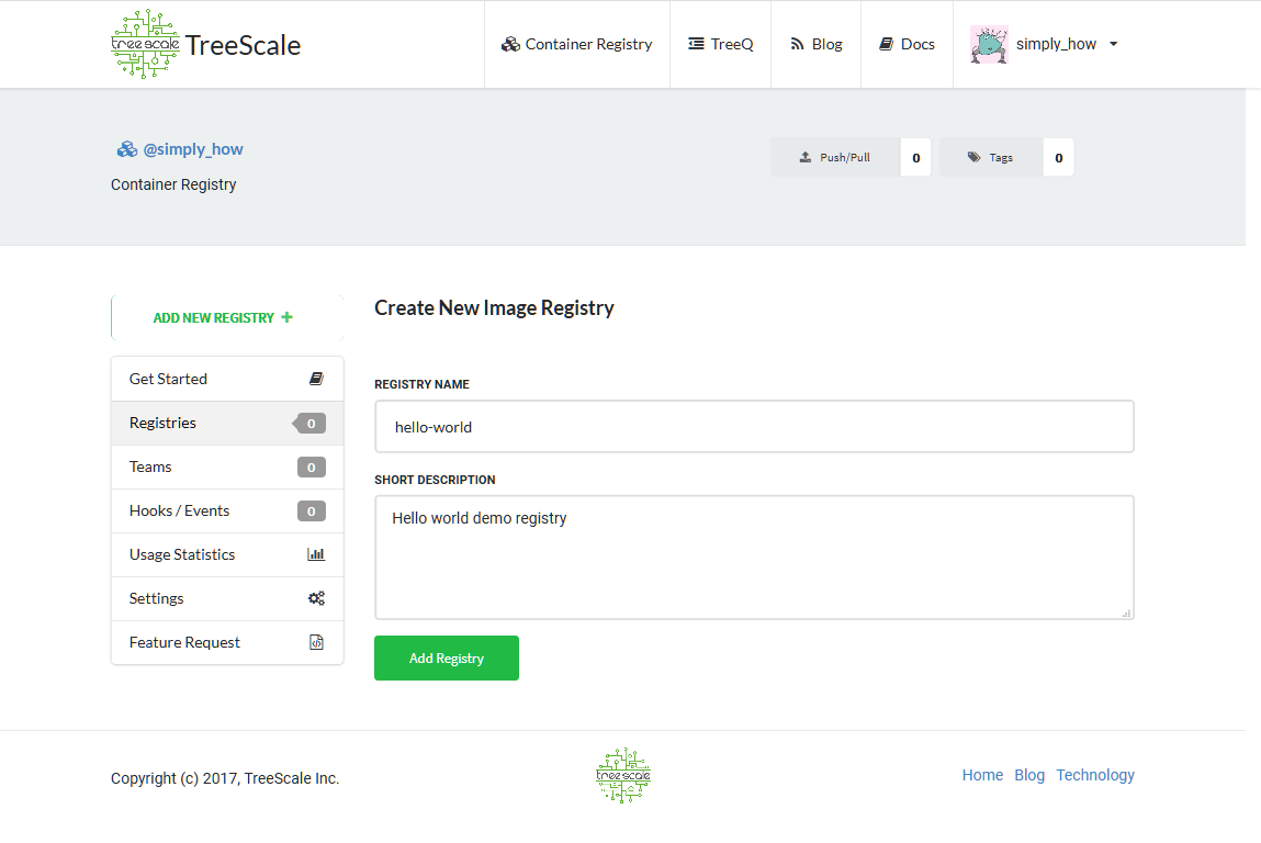 Create New Image Registry Page