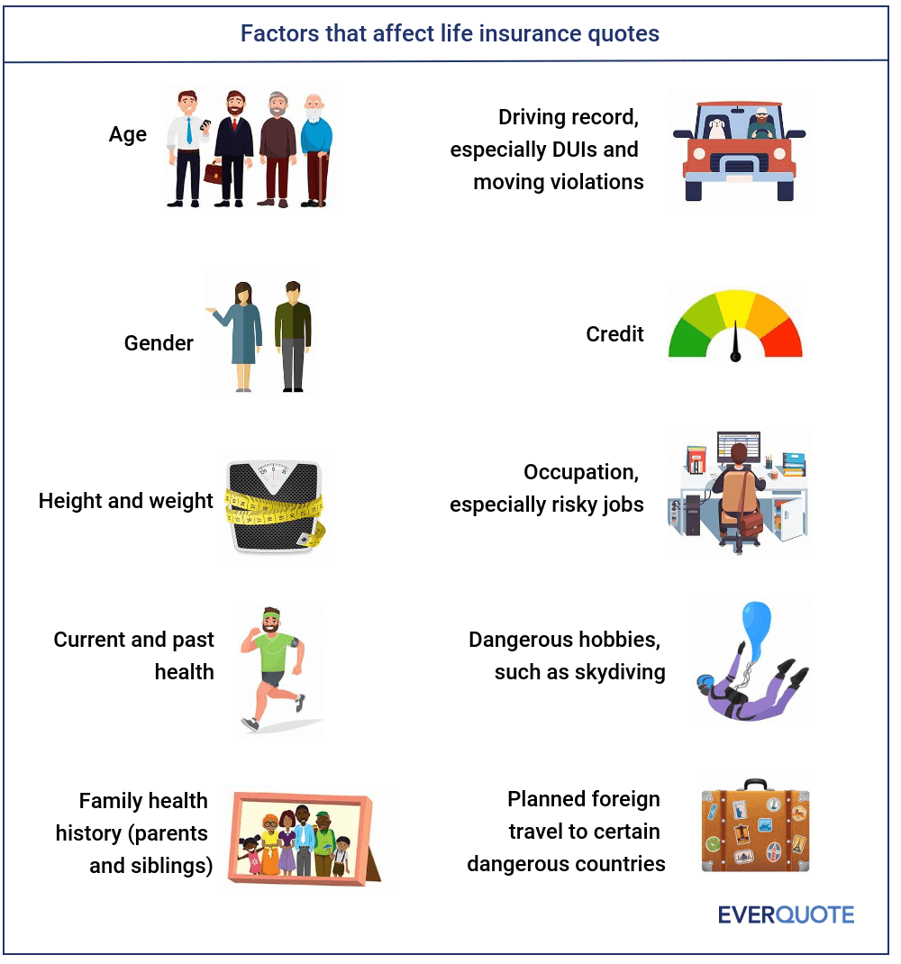 Factors that impact life insurance premiums infographic.