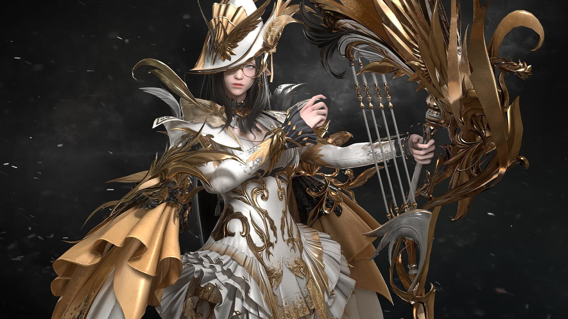 A woman dressed in ornate white and gold clothing holds a gilded harp in one hand.
