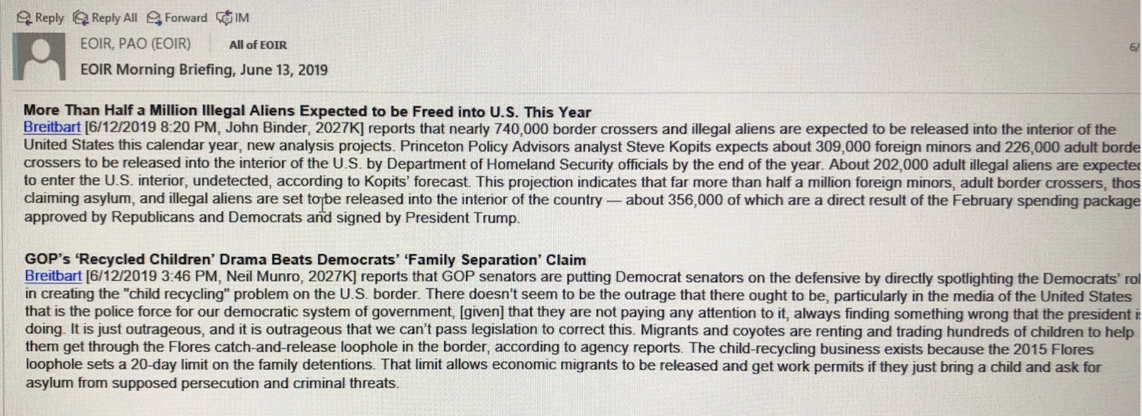 DOJ's Immigration Office Routinely Distributing Breitbart