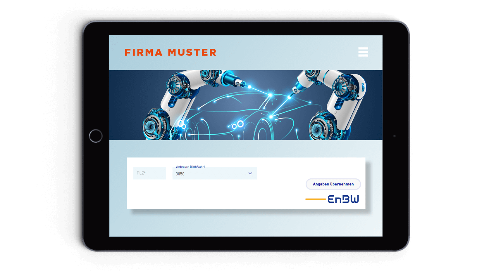 Tablet mit Partner-Website und EnBW Produkten