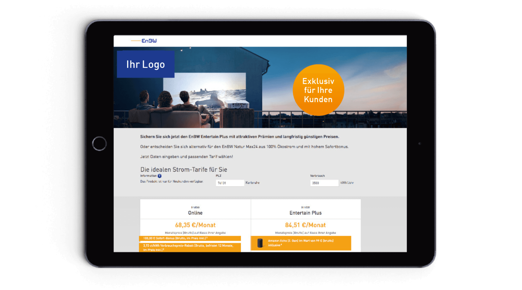 Tablet mit Website mit EnBW Produkten