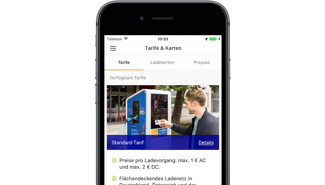 Handy mit Screen der EnBW mobility+ App: Tarifinformationen