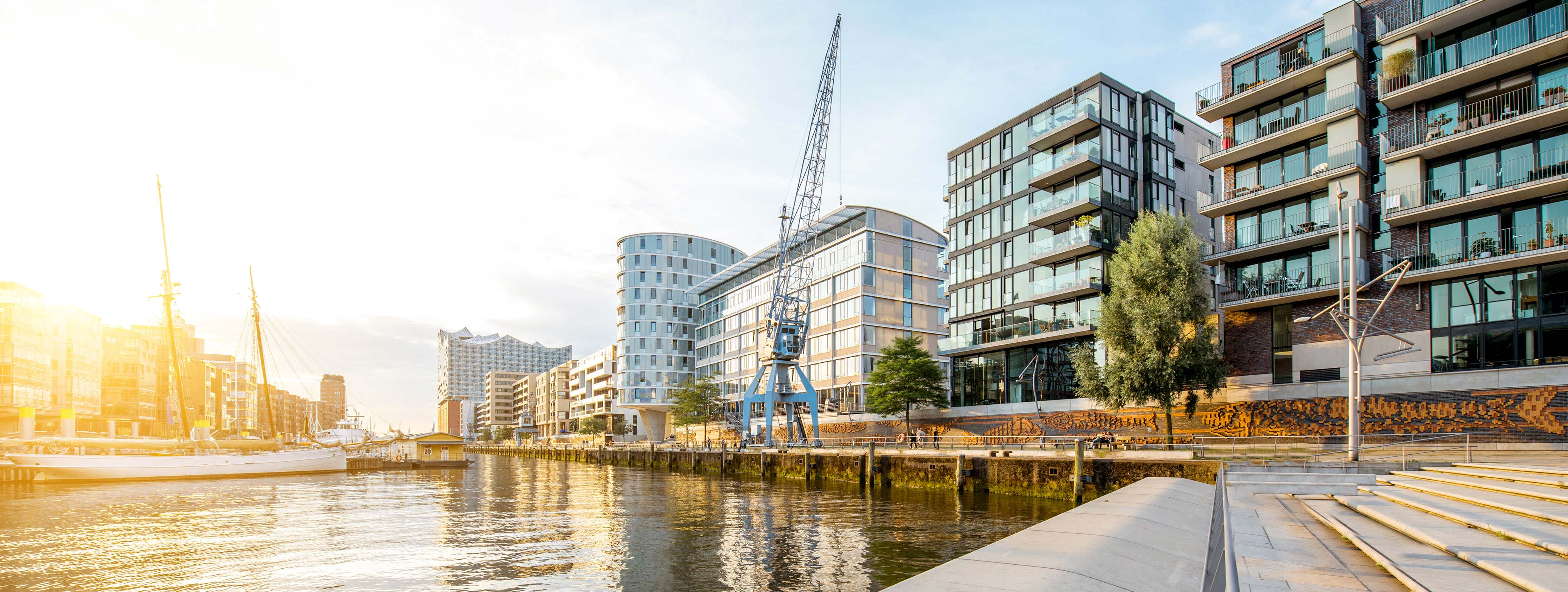 Panorama der Hafencity in Hamburg