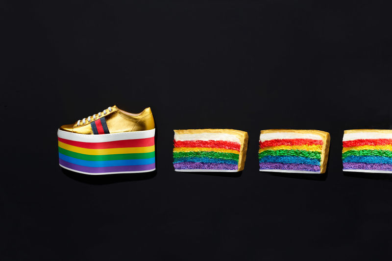 Gucci rainbow platform shoes with rainbow cake