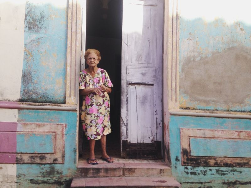 Old woman in doorway, Remedios, Cuba