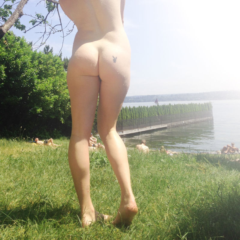 Naked girl's butt in the sun