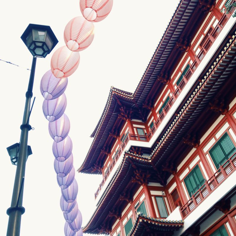 Paper lanterns over street, Singapore