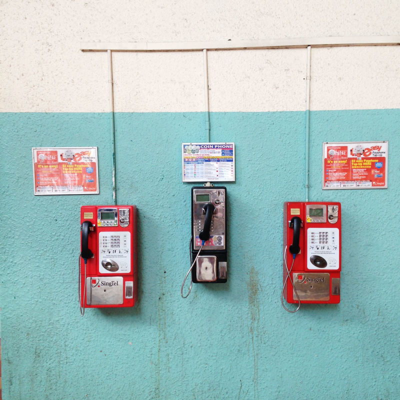 Pay phones on a wall, Singapore