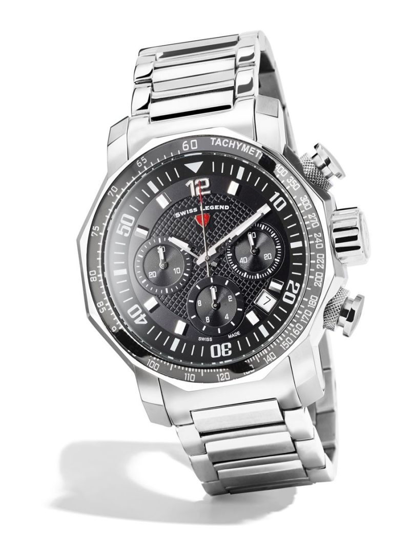 Men's silver watch with black face