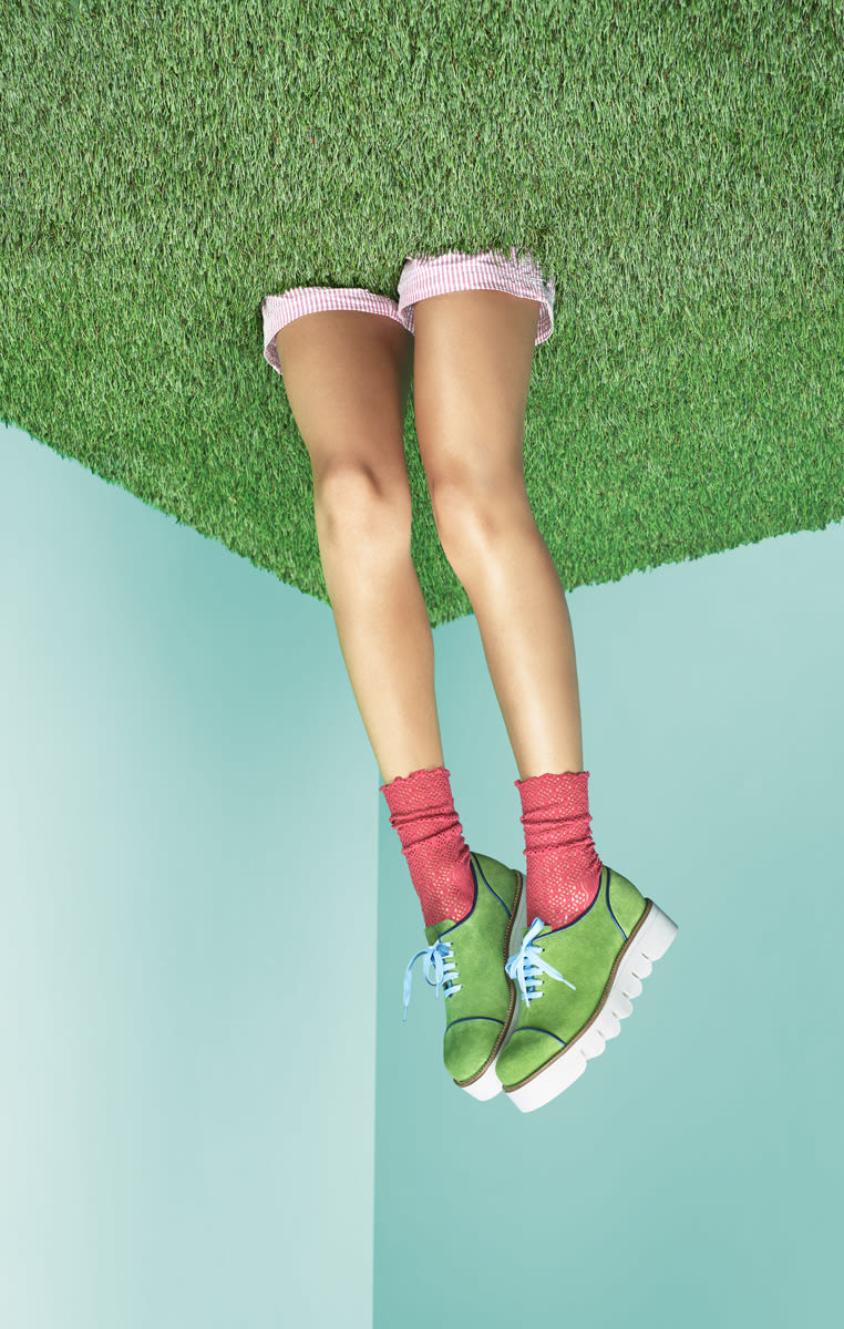 Green shoes with pink socks