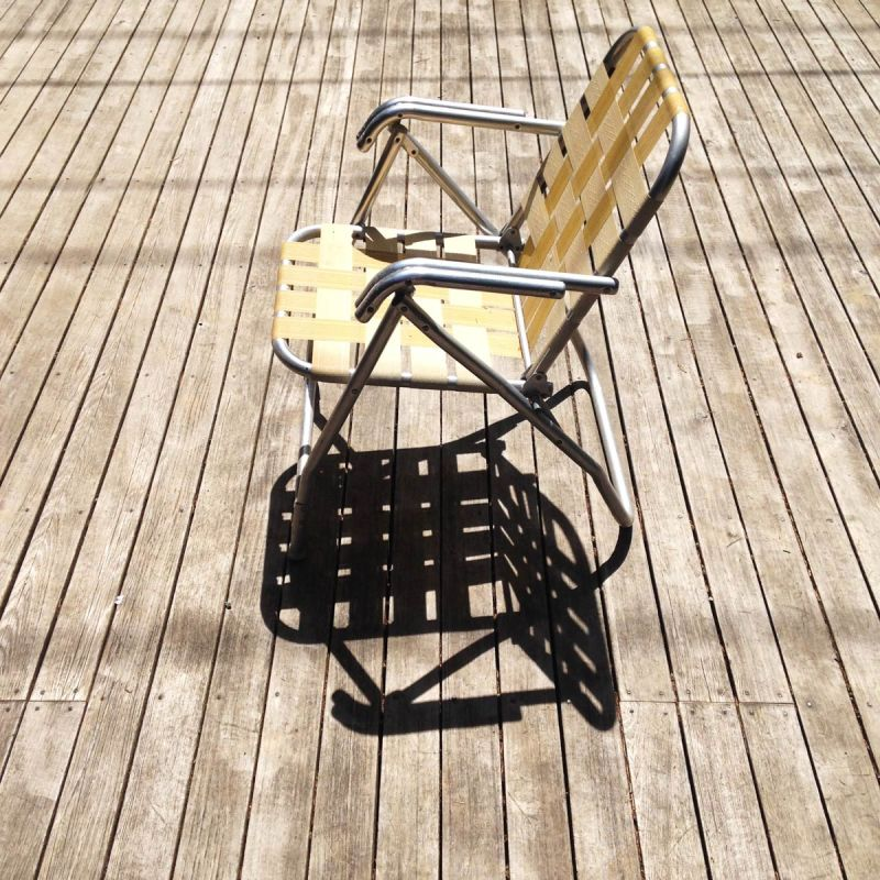 Lawn chair on a deck