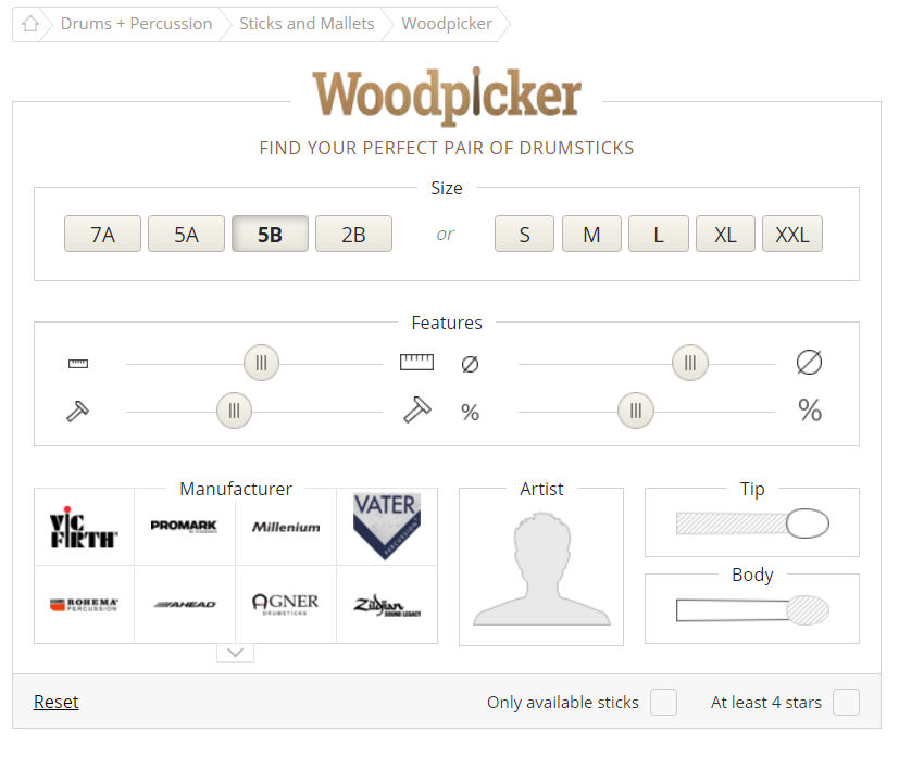 Woodpicker state when 5B is clicked.  The length, diameter and punch are changed when you click a top button.  This allows for further user modification of the size (which unsets the standard size chosen)
