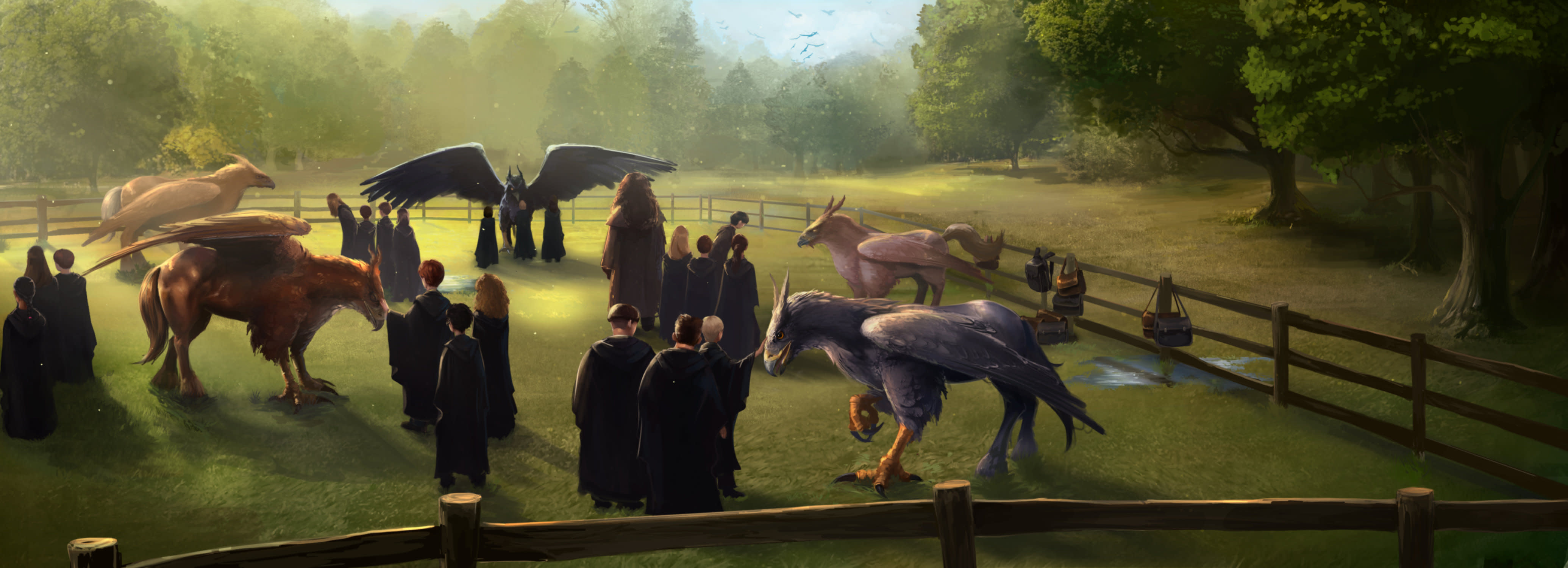 Hippogriff PM B3C6M3 SlytherinAndGryiffindorStudentsBeingTaughtAboutHippogriffsFromHagridInCareOfMAgicalCreatures Moment