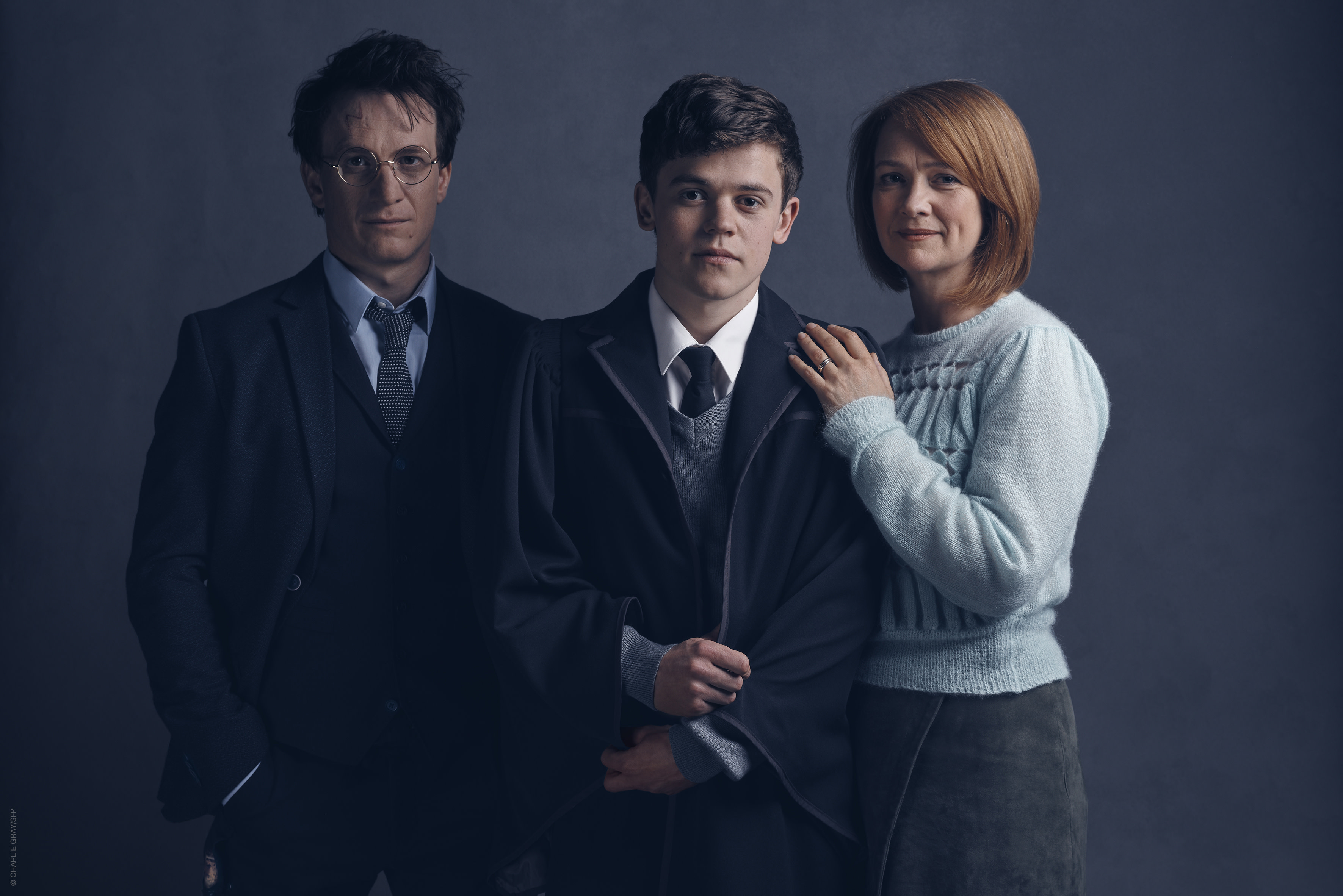 L-R, Jamie Parker as Harry Potter, Sam Clemmett as Albus Potter and Poppy Miller as Ginny Weasley