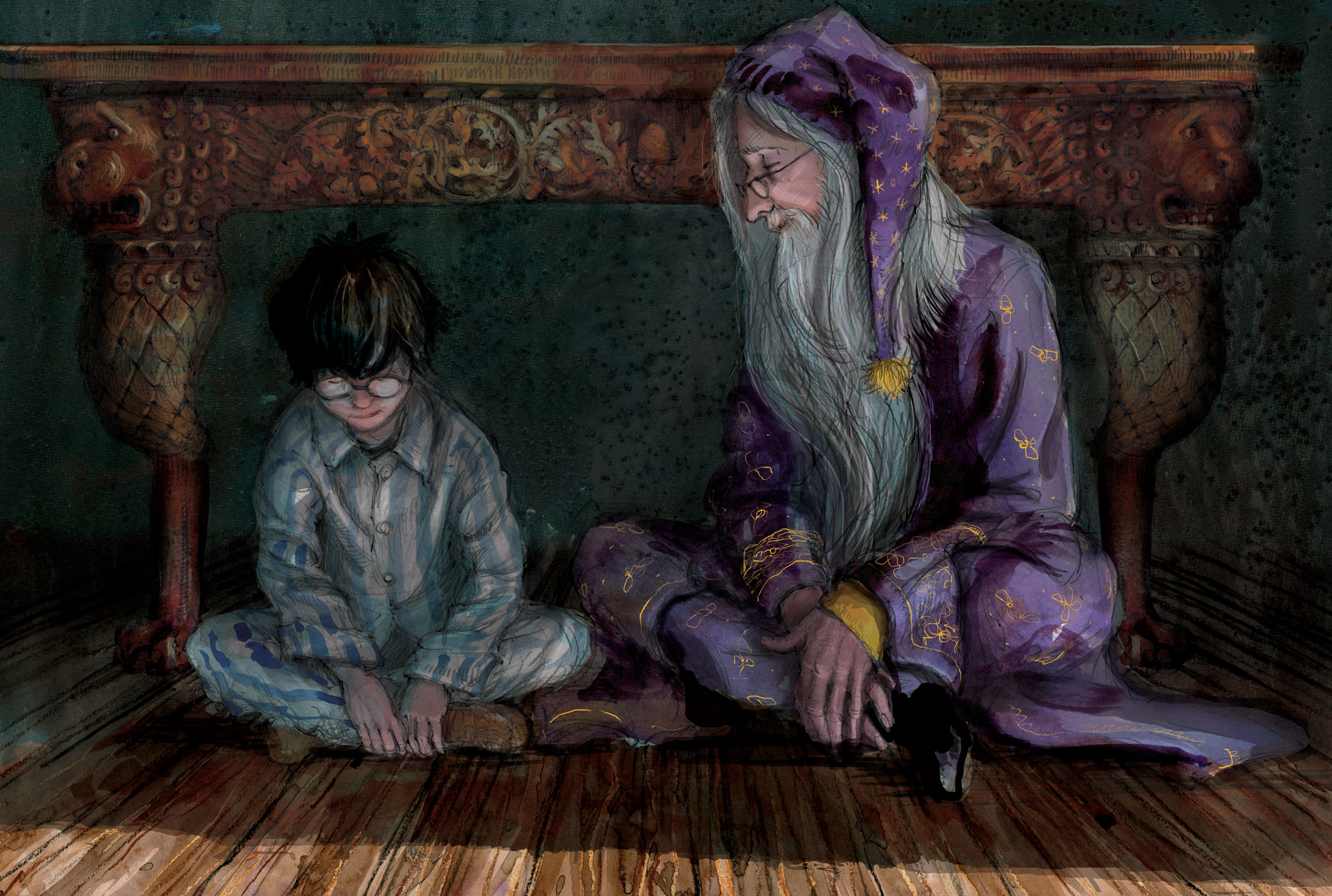 albus-dumbledore-and-harry-talk-philosophers-stone-jim-kay