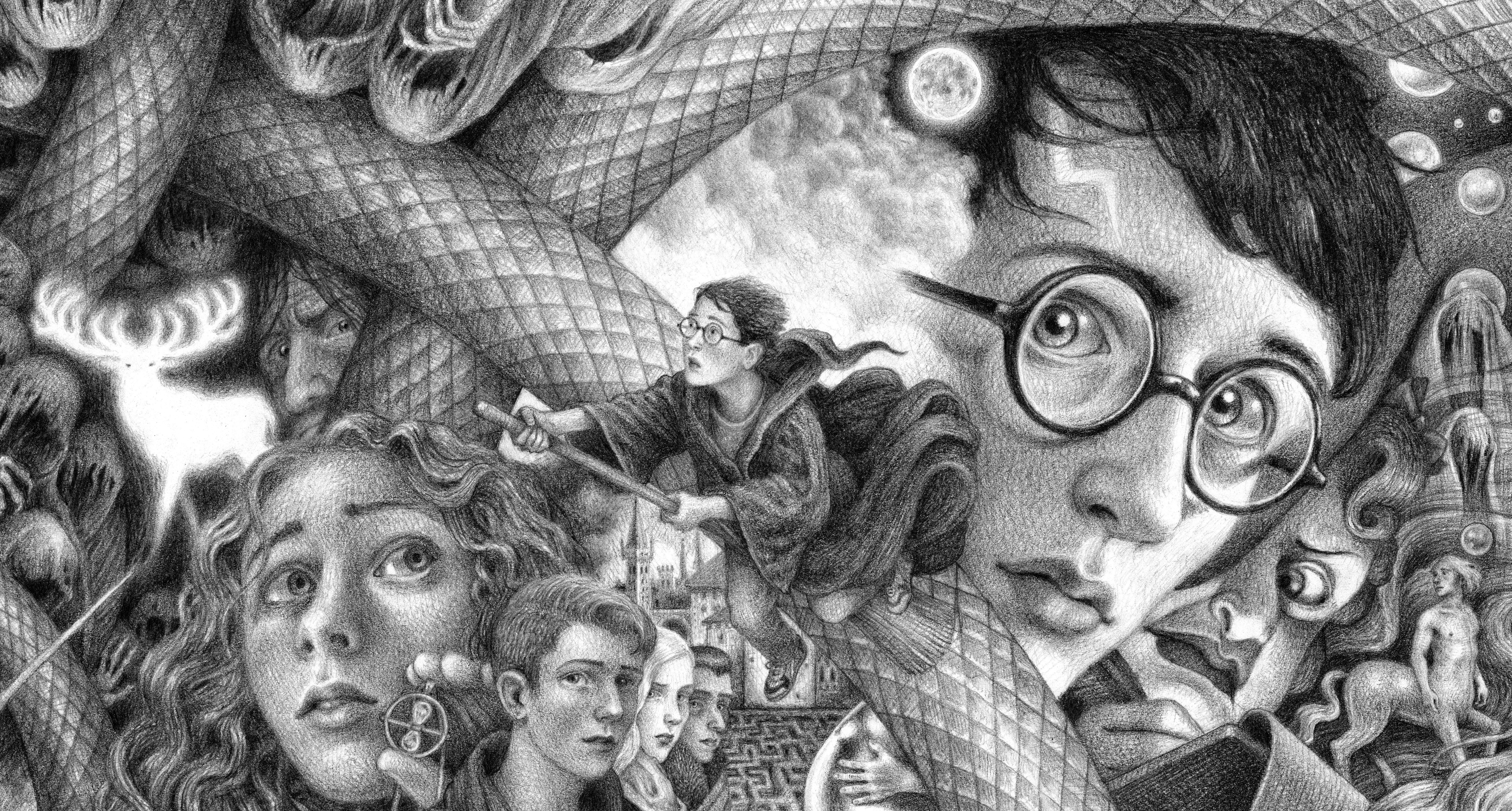 Cropped image of Selznick covers for Scholastic 20th anniversary Harry Potter covers