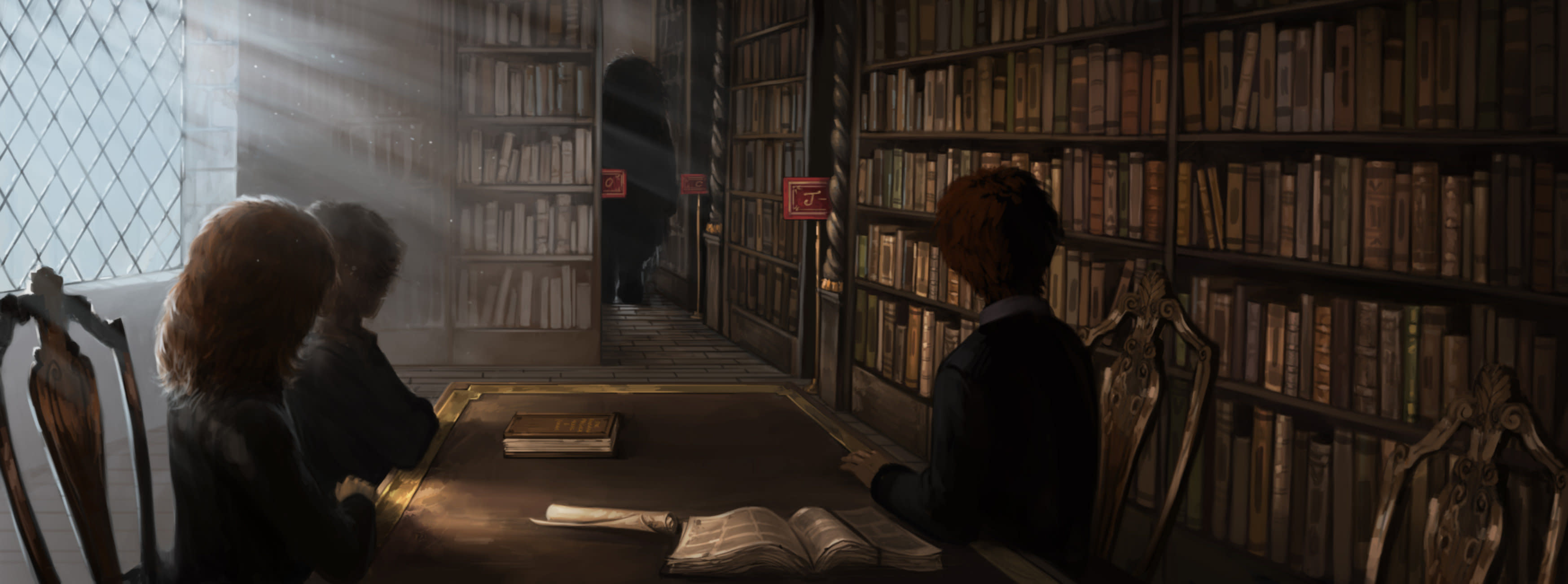 HogwartsLibrary PM B1C14M1 HarryHermioneAndRonInTheLibrary Moment