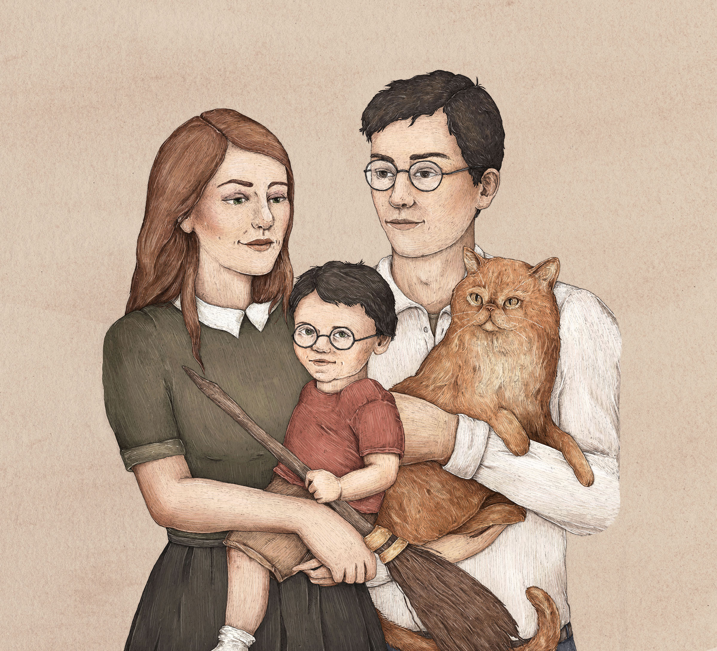 Potter family tree featuring Harry Potter, James Potter and Lily Potter with the family cat