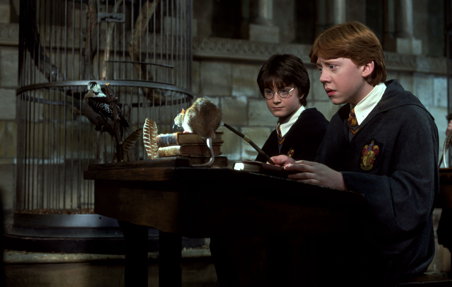 WB-HP-philosophers-stone-harry-ron-scabbers-transfiguration-desks