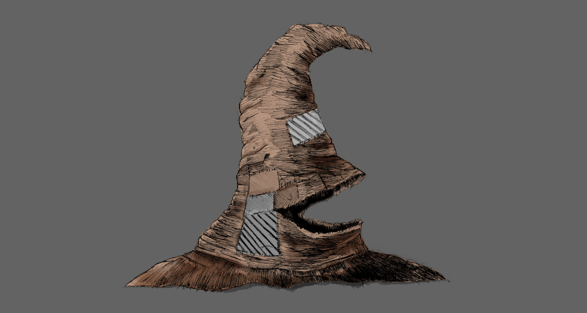 Sorting Hat Illustration grey background