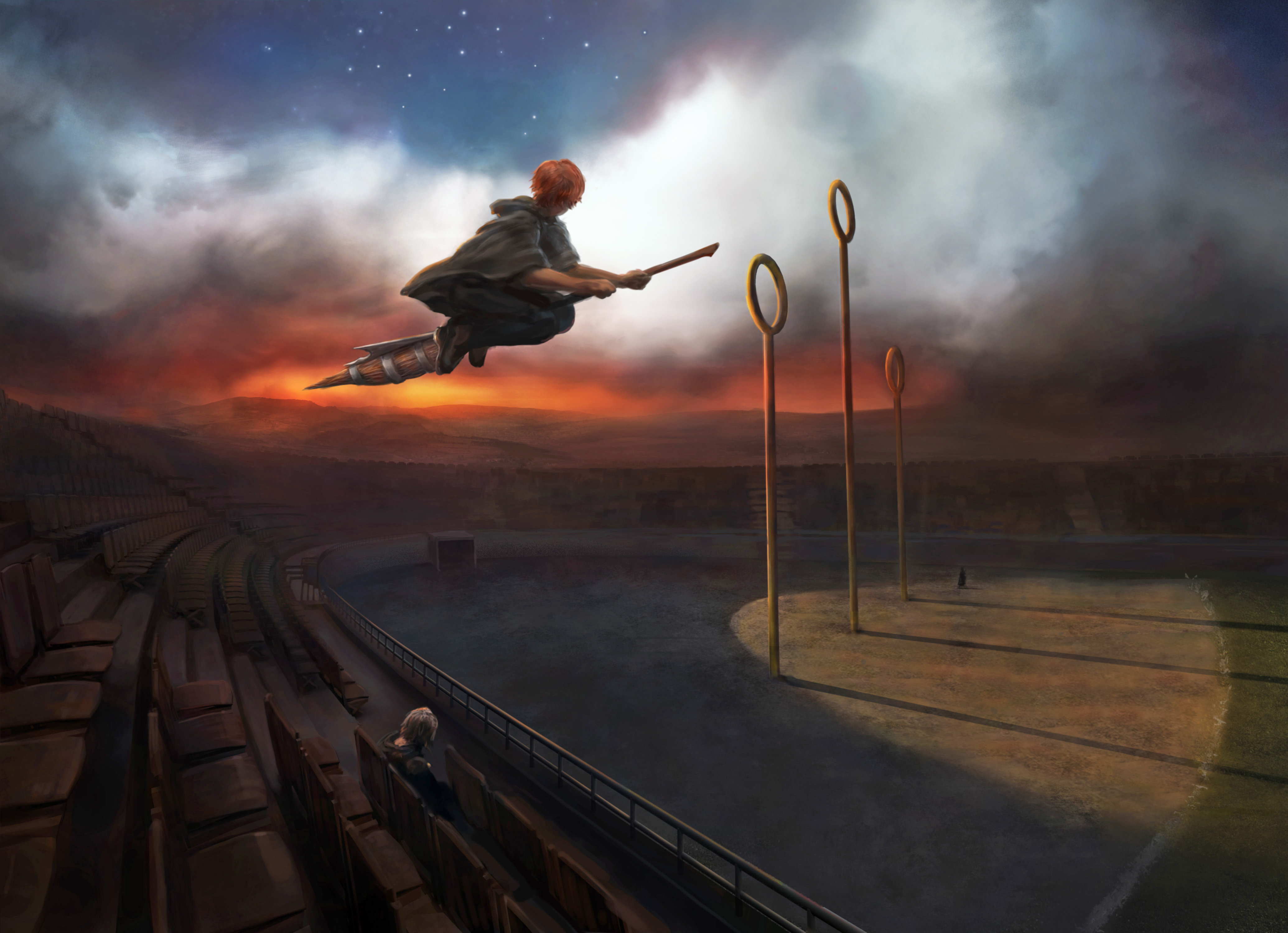 RonWeasley PM B3C13M1 RonFlyingFireboltAtQuidditchPitchWithHarryWatching Moment