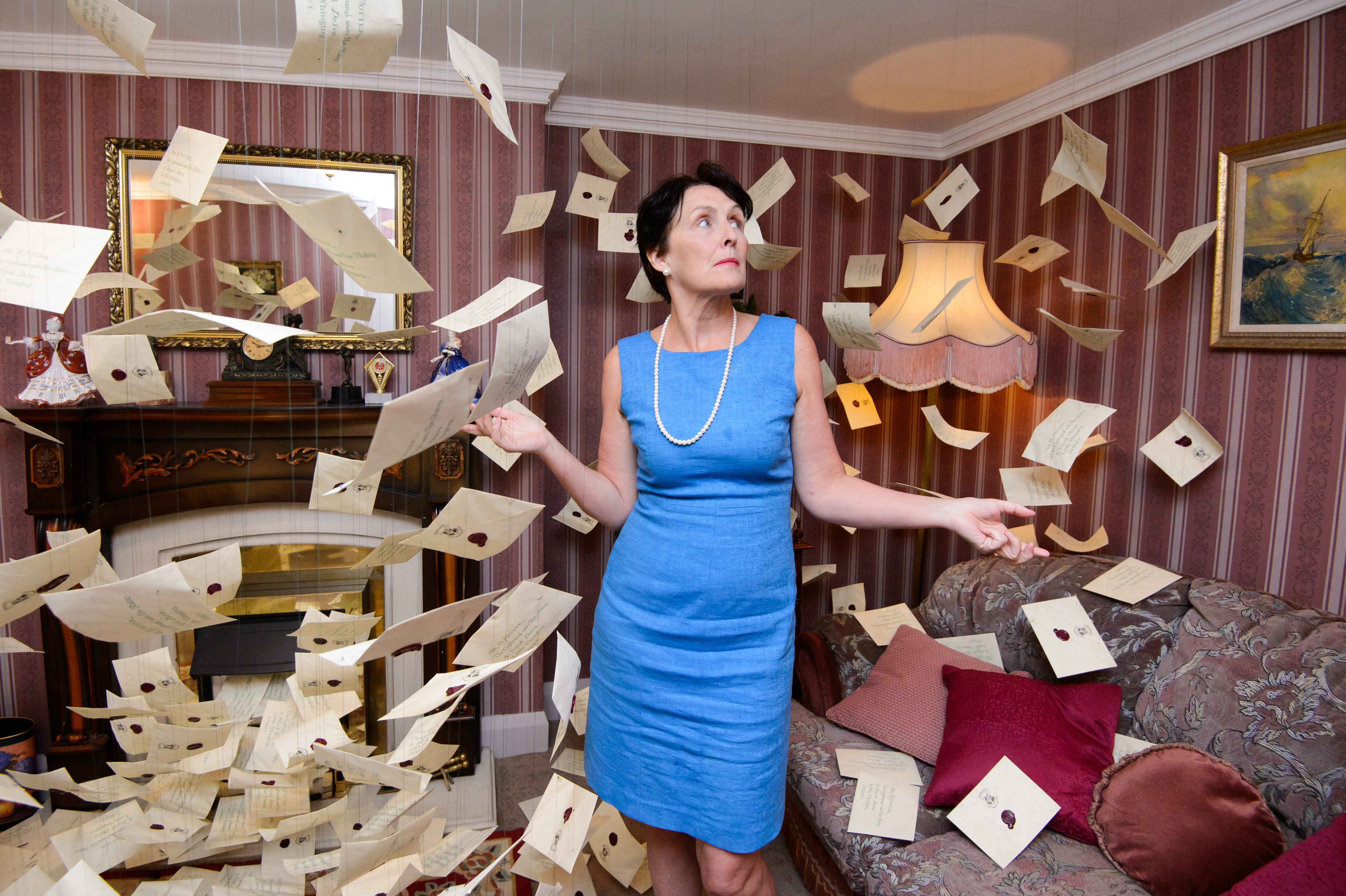 Fiona Shaw inside the living room of number four, Privet Drive